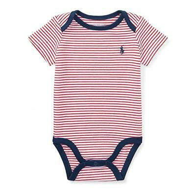 POLO RALPH LAUREN Polo Striped Cotton Bodysuit Sunset Red White 9 Months
