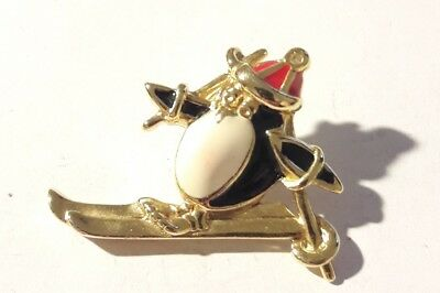 Pinguin Brosche Vergoldet Gold Plated