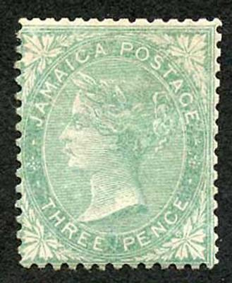 Jamaica SG3 3d Green (re-perfed) Pineapple Wmk M/Mint