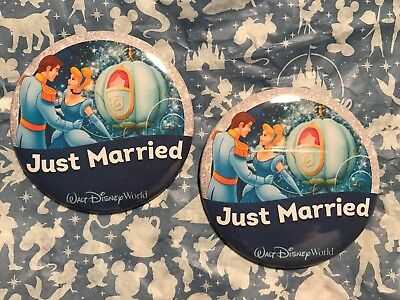"""Walt Disney World  Set Of Two """"JUST MARRIED """" Pins Buttons,"""