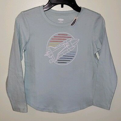 NEW Old Navy Girls 6-7 Long Sleeve SPACE SHUTTLE Shirt Green Science #10219