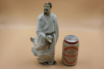 20th Century Chinese Porcelain Pottery Carved Man with Pattern Figurine Statue