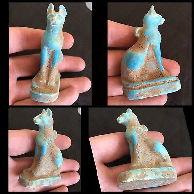 Beautiful ancient Egyptian blue faience cat amulet , c300 bc