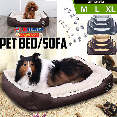 Dog Bed Pet Cat Puppy Kitten Faux Fur Fleece Washable Deluxe Cushion Mat M L XL