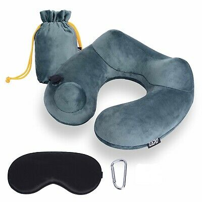 Inflatable Neck Travel Pillow - Luxuriously Soft Washable Cover and Compact Pack