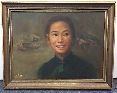 Beautiful Portrait Of Smiling Asian Woman Oil Painting Signed Nelson Hong Kong
