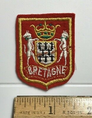 Bretagne Brittany France Coat of Arms Crest Embroidered Red Felt Patch Badge