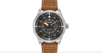 Citizen Men's Eco-Drive Stainless Steel Watch With Brown Leather Strap BRAND NEW