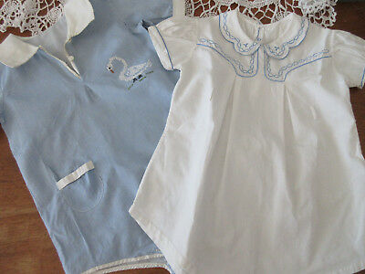 VINTAGE WHITE EMBROIDERED & BLUE ROMPER ONE PIECE 1920's 30 40's ?? 18 24 mo 2?