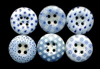"""6 Different Antique China Calico Buttons inc Stars…Blue….7/16"""""""