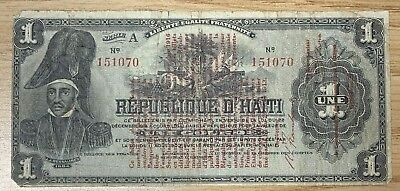 1914 1 Gourde Haiti Provisional Currency. RARE!!!