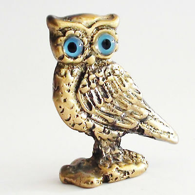 Owl Bird Bronze Statue Greek Roman Wisdom Freedom Symbol Aged Patina Miniature