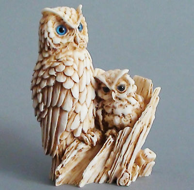 Owl Bird Statue Greek Roman Mythology Wisdom Symbol Alabaster Figurine Gift 4.3""