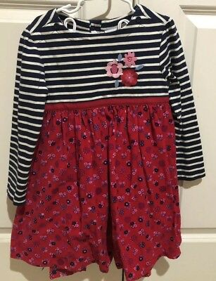 jojo maman bebe Girls 5-6 Striped, Flower Corduroy Red Dress And Leggings NWT