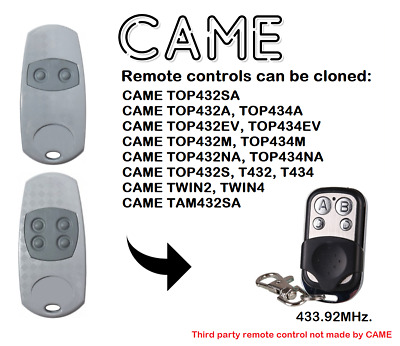 CAME TOP432EE, TOP434EE Universal Remote Control Duplicator 4-Channel 433.92MHz.