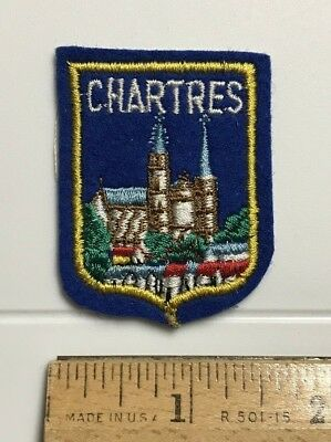 Cathedral of Our Lady of Chartres France French Small Blue Felt Patch Badge