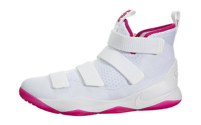 best sneakers 83ad9 a9ed4 NIKE LEBRON SOLDIER XI Mens Basketball Shoes White Vivid Pink Kay Yow