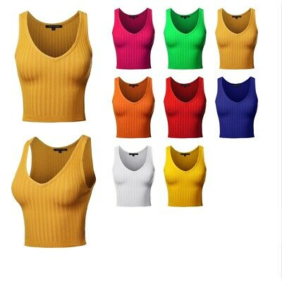 bb954b4d30 FashionOutfit Women's Solid Sleeveless V-Neck Thick Line Ribbed Crop Tank  Top