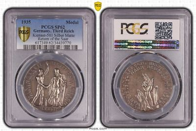 Third Reich 1935 Karl Goetz Silver Medal PCGS SP62 Liberation of the Saarland