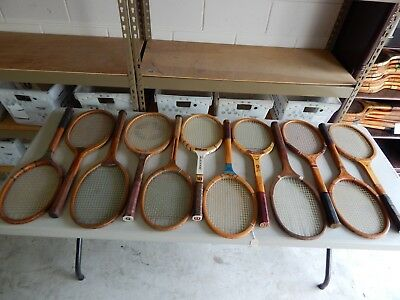 Lot Of 12 Vintage/antique Wood Tennis Rackets - Racquets..different Names & More