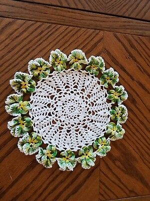 """VTG Crocheted Doily 3D Pansy Variegated Greens & Yellow Soft-White Round 12"""""""