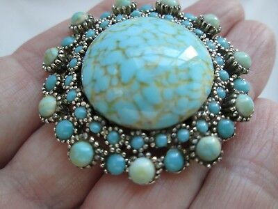Vintage Jewellery Stunning Hatched Turquoise Glass Cabochon Flower Brooch Pin