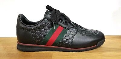 f796d0bbec4 Gucci 233334 Black Leather Low Top Sneakers With Web Shoes 7.5G   US 8.5