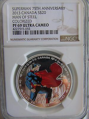 Canada 2013 $20 Silver Superman 75th Anniversary Man of Steel Colorized NGC PR69