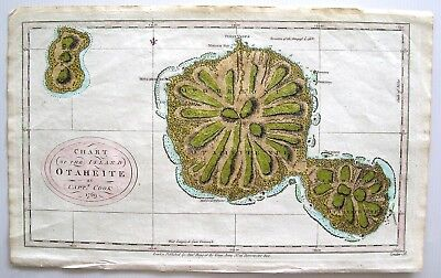 "Original Antique Map Of Tahiti:- ""chart Of Otaheite 1769"": Captain James Cook"