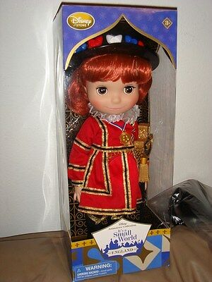 """Disney Store Animators Its' A Small World Singing Doll """"england"""" Brand New In Pk"""