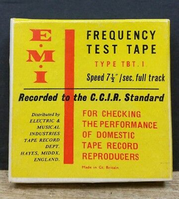 """EMI Reel to Reel Frequency Test Tape 3"""" 1/4"""" 7.5ips Calibration Azimuth Adjust"""