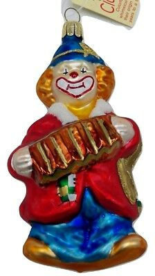 Bronners Clown with Accordion Christmas Ornament Blown Glass Czech Gold Glitter
