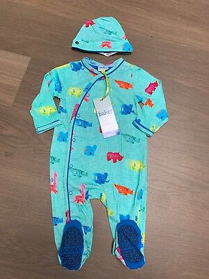 New Ted Baker Baby Boys Sleepsuit Babygrow With Hat Size 3-6 Months