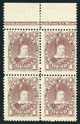 Newfoundland 1880 SG44b 1c Red Brown Fine Mint Imprint Block