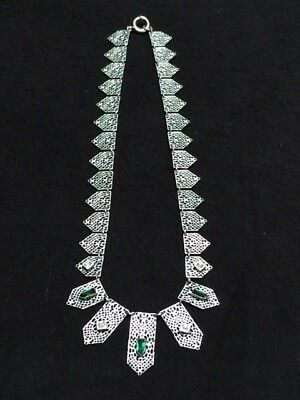Vintage Art Deco Chrome Plated Filigree Pendant Necklace Green & Clear Glass