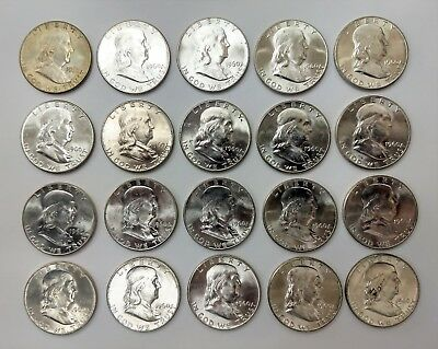 Lot Roll of 20 1960 50C Half Dollar Silver Coin Ben Franklin Philadelphia Mint