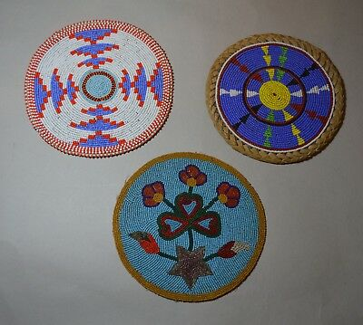 Native American Indian 3 beaded roundels mats