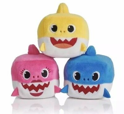 Wowwee Authentic New Pinkfong BABY SHARK Sound Plush Doll CUBE toy Pink Yellow