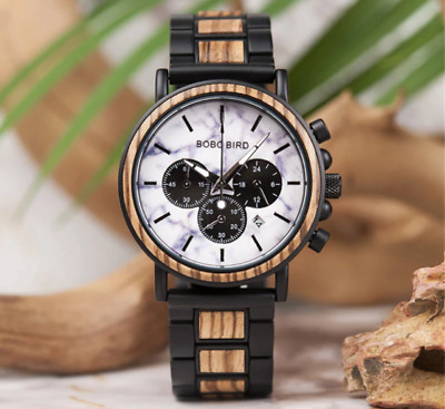BOBO BIRD Colourful Mens Deluxe Wooden Watch With Date In Card Gift Box