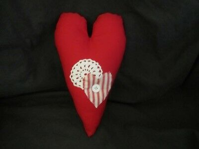 Primitive    Heart Pillow - doily, heart, button  - hanger - Valentine - red