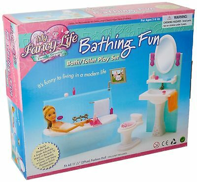 My Fancy Life Barbie Size Dollhouse Furniture Bathing Fun- Bath/Toilet Play Set