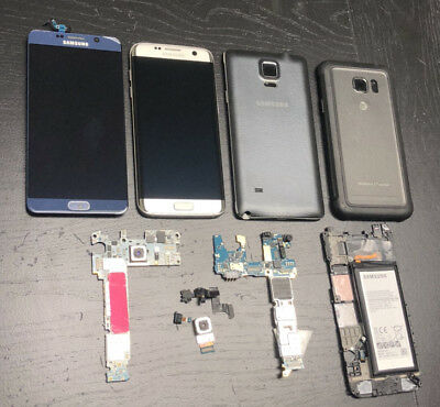 Samsung Galaxy Smartphone PARTs LOT! S7 Active - Note 4 LCDs, Boards & Housings!