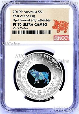 2019 Australia OPAL LUNAR Year of the PIG 1oz Silver Proof Coin NGC PF70 UC ER