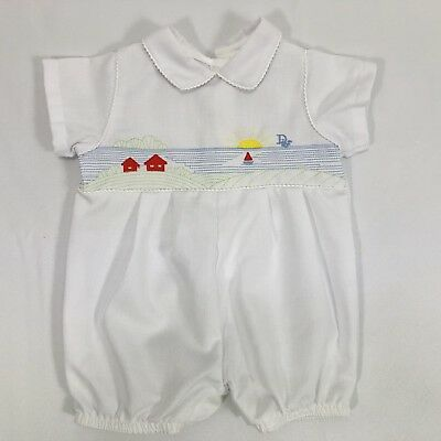 Vintage Baby Dior Boys One Piece White Shorts Romper Sunset at Sea 3 Months