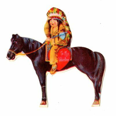 Native American Indian Chief Sitting On His Black Horse / Vintage Valentine Card