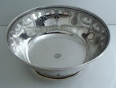 Antique 1913 Tiffany & Co Makers 925 Sterling Silver Ornate Large Heavy Bowl