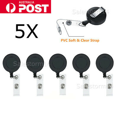 5pcs Retractable Badge Holder Reel Swipe Card Security ID Pull Key Tag Clip