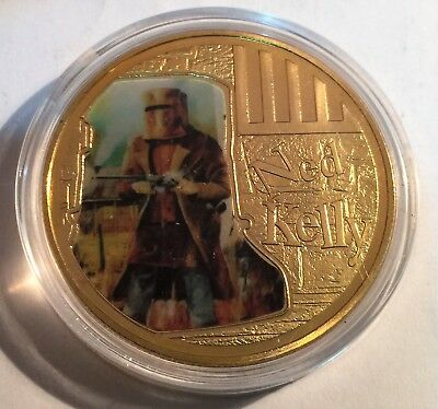 """NED KELLY """"Helmet Art #2"""" 1 Oz Coin, Finished in 24k 999 Gold 5 to collect, Gift"""