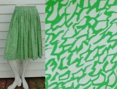 50s HIGH WAIST skirt ROCKABILLY PINUP SWING GREEN PLEATED XS S 24 MIDI GIRLS L