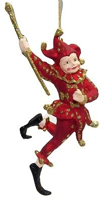 Harlequin Jester Christmas Ornament Red Girl Gold Glitter Pink Cheeks Mardi Gras